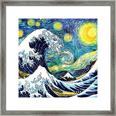 Starry Night Wave Framed Print by Devika Indriani