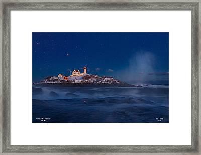 Starry Nubble Lighthouse Framed Print