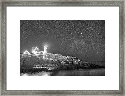 Starry Sky Of The Nubble Light In York Me Cape Neddick Black And White Framed Print by Toby McGuire