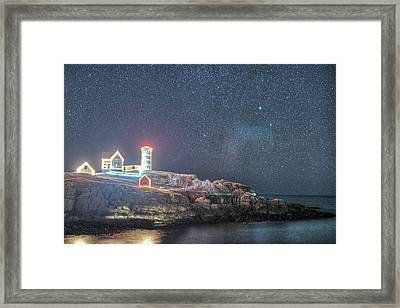 Starry Sky Of The Nubble Light In York Me Cape Neddick Framed Print by Toby McGuire