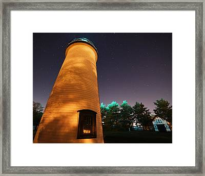 Starry Sky Over The Newburyport Harbor Light Closeup Framed Print by Toby McGuire