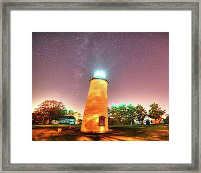 Starry Sky Over The Newburyport Harbor Light Framed Print