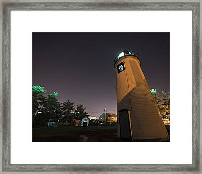 Starry Sky Over The Newburyport Harbor Light Window Framed Print
