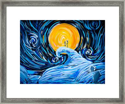 Starry Spiral Hill Night Framed Print