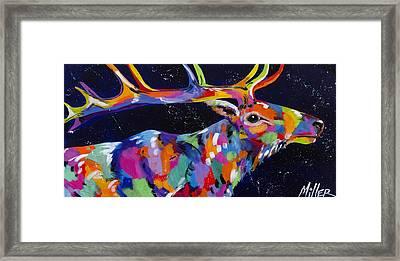 Starry Starry Elk Framed Print by Tracy Miller