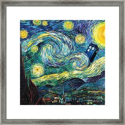Starry Tardis Art Painting Framed Print by Vika Chan