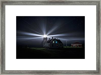 Stars And Light Beams - West Quoddy Head Lighthouse Framed Print by Marty Saccone