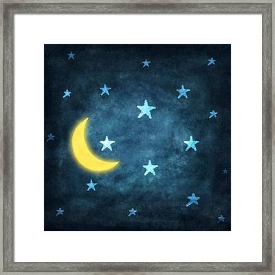 Stars And Moon Drawing With Chalk Framed Print