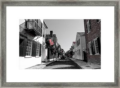 Stars And Stripes- Church St Charleston Sc Framed Print