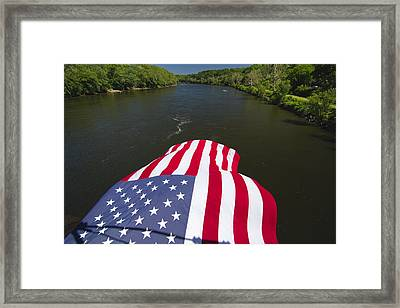 Stars And Stripes Flies Over The Delaware River Framed Print by George Oze