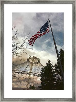 Stars And Stripes Flying Over R F P Pavilion - Spokane Framed Print