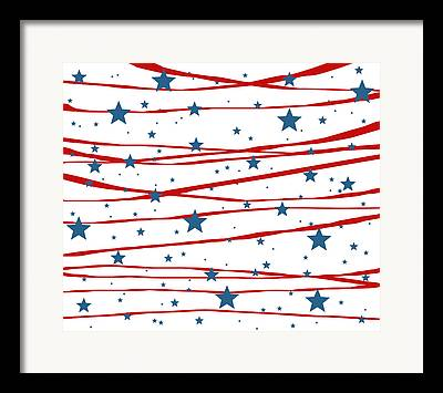 Stars And Stripes Digital Art Framed Prints