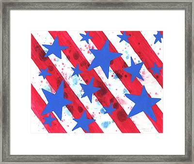 Framed Print featuring the painting Stars And Strips  by Darice Machel McGuire