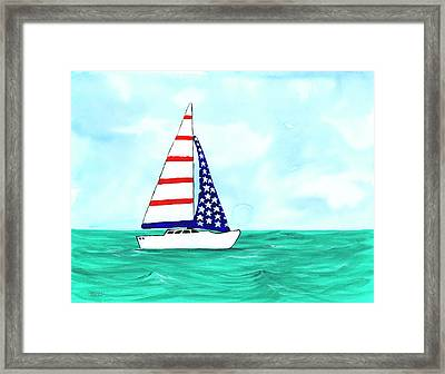 Framed Print featuring the painting Stars And Strips Sailboat by Darice Machel McGuire