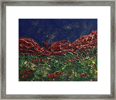 Stars Falling On Copper Moon Framed Print by Donna Blackhall
