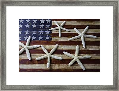 Stars On American Flag Framed Print by Garry Gay