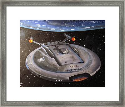 Starship Enterprise Framed Print by Rita Tortorelli