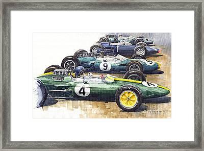 1963 Start British Gp  - Lotus  Brabham  Brm  Brabham Framed Print by Yuriy  Shevchuk