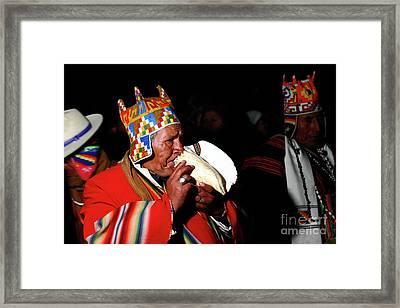 Start Of Aymara New Year Ceremonies Bolivia Framed Print by James Brunker