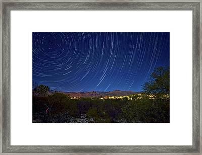 Startrails Over Thimble Peak Framed Print by Dan McManus