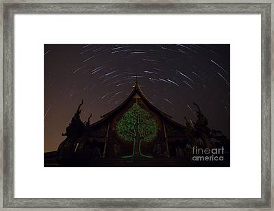 Framed Print featuring the photograph Startrails by Tosporn Preede