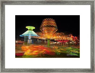 State Fair Rides At Night I Framed Print by Clarence Holmes