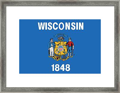 State Flag Of Wisconsin Framed Print by American School