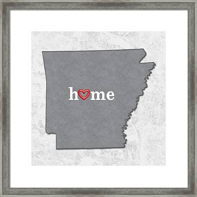 State Map Outline Arkansas With Heart In Home Framed Print by Elaine Plesser
