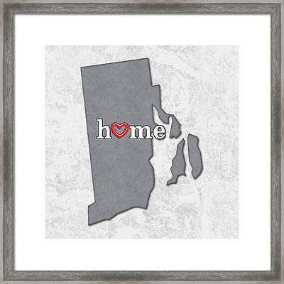 State Map Outline Rhode Island With Heart In Home Framed Print by Elaine Plesser