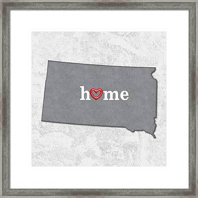 State Map Outline South Dakota With Heart In Home Framed Print by Elaine Plesser