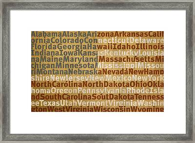 State Names American Flag Word Art Red White And Blue Framed Print