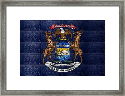State Of Michigan Flag Recycled Vintage License Plate Art Version 1 Framed Print by Design Turnpike