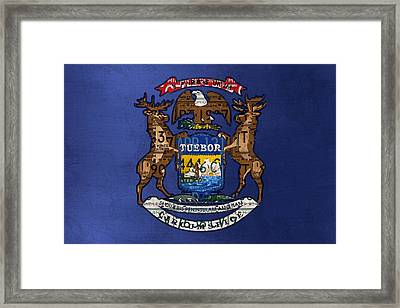 State Of Michigan Flag Recycled Vintage License Plate Art Version 2 Framed Print by Design Turnpike