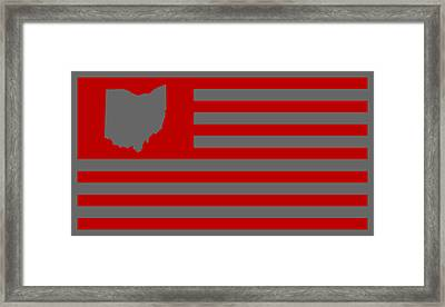 State Of Ohio - American Flag Framed Print by War Is Hell Store