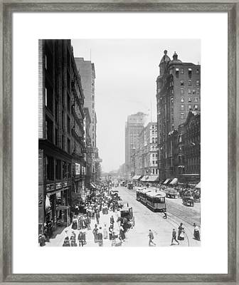 State Street - Chicago 1900 Framed Print by Daniel Hagerman
