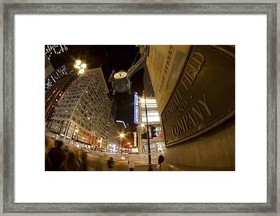 State Street Night Scene Framed Print