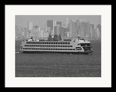 Staten Island Ferry In New York Framed Prints
