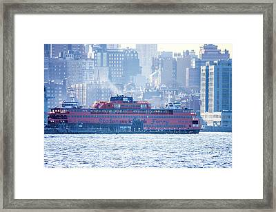 Staten Island Ferry Lower Manhattan Framed Print by William Rogers