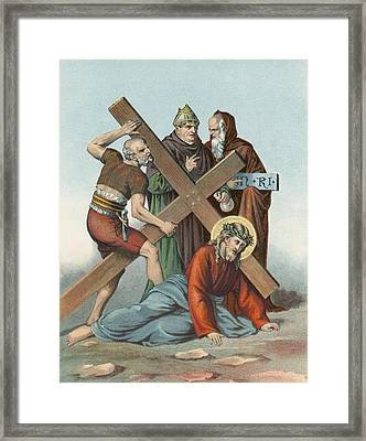 Station Ix Jesus Falls Under The Cross The Third Time Framed Print by English School