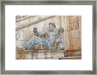 Statue Capitoline Hill Of Rome Italy Framed Print