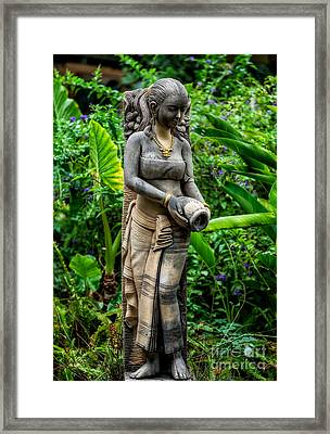 Statue In The Garden Framed Print by Adrian Evans
