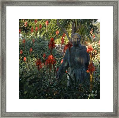 Statue In The Garden  Framed Print