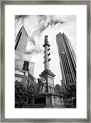 Statue Of Christopher Columbus In Columbus Circle With Time Warner Center And Trump International Ho Framed Print