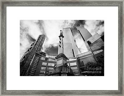 Statue Of Christopher Columbus In Columbus Circle With Time Warner Center Central Park Place And Hea Framed Print