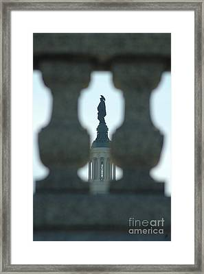 Statue Of Freedom Through Railing Framed Print