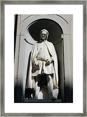 Statue Of Giotto Di Bondone At The Uffizi Gallery In Florence It Framed Print