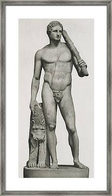 Statue Of Hercules Framed Print by Roman School