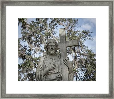 Statue Of Jesus And Cross Framed Print by Kim Hojnacki
