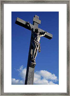 Statue Of Jesus Christ On The Cross Framed Print by Sami Sarkis
