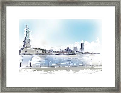 Statue Of Liberty And New York City Illustration  Framed Print by Jorgo Photography - Wall Art Gallery